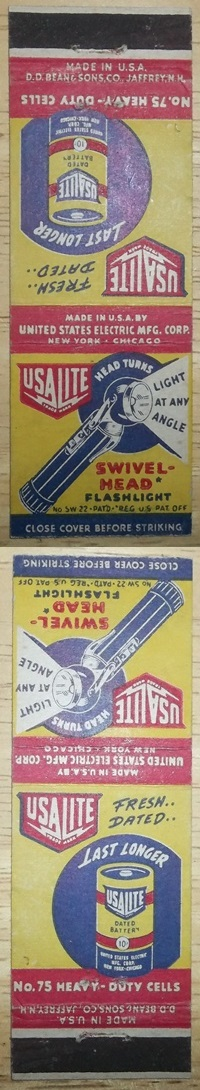 USAlite Matchbook Cover